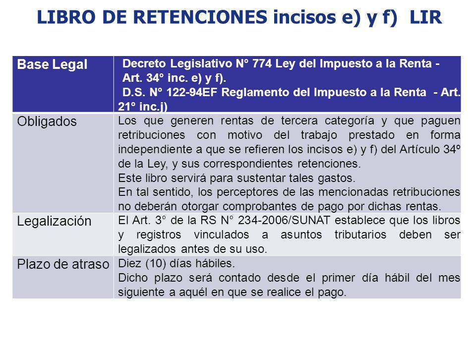 LIBRO DE RETENCIONES incisos e) y f) LIR Base Legal Decreto Legislativo N° 774 Ley del Impuesto a la Renta - Art. 34° inc. e) y f). D.S. N° 122-94EF R