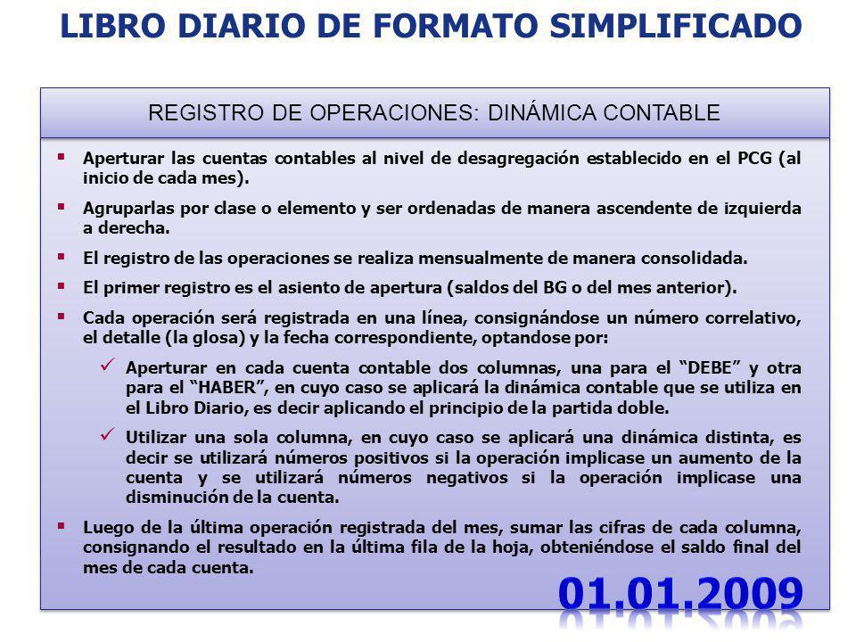 Aperturar las cuentas contables al nivel de desagregación establecido en el PCG (al inicio de cada mes). Agruparlas por clase o elemento y ser ordenad