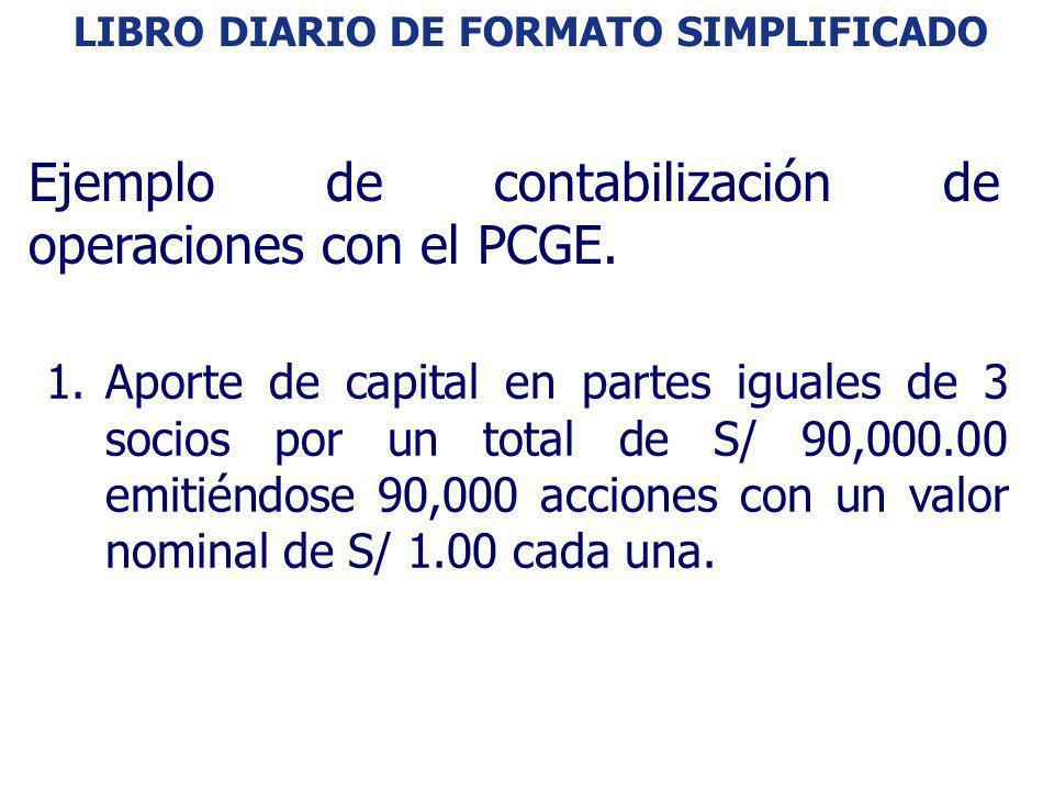 LIBRO DIARIO DE FORMATO SIMPLIFICADO: EJEMPLO 1.Aporte de capital en partes iguales de 3 socios por un total de S/ 90,000.00 emitiéndose 90,000 accion