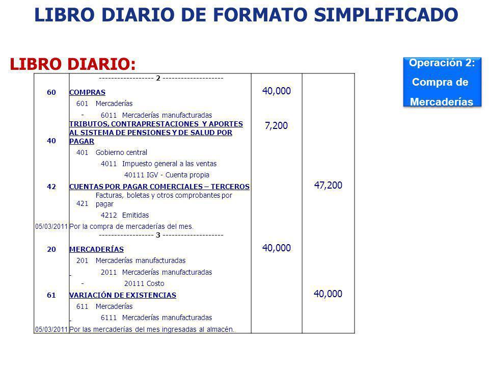 LIBRO DIARIO: Operación 2: Compra de Mercaderías Operación 2: Compra de Mercaderías LIBRO DIARIO DE FORMATO SIMPLIFICADO: EJEMPLO ------------------ 2