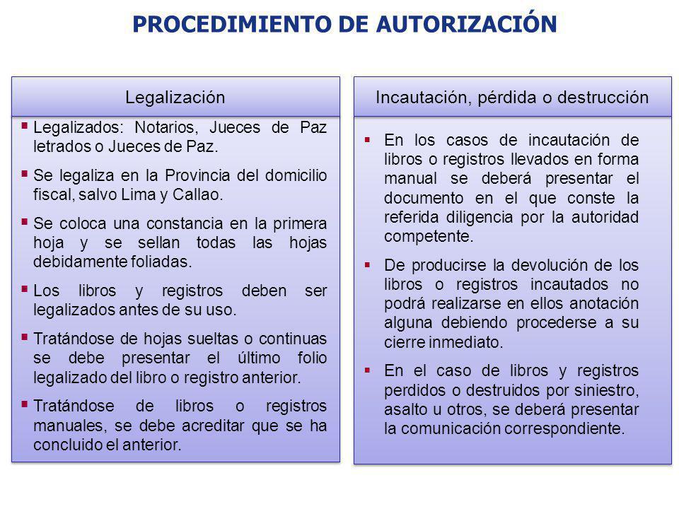 PROCEDIMIENTO DE AUTORIZACIÓN Legalizados: Notarios, Jueces de Paz letrados o Jueces de Paz. Se legaliza en la Provincia del domicilio fiscal, salvo L