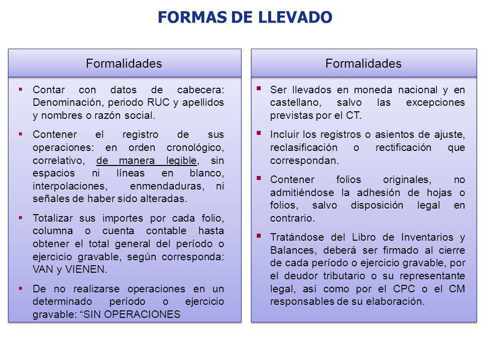 FORMAS DE LLEVADO Contar con datos de cabecera: Denominación, periodo RUC y apellidos y nombres o razón social. Contener el registro de sus operacione