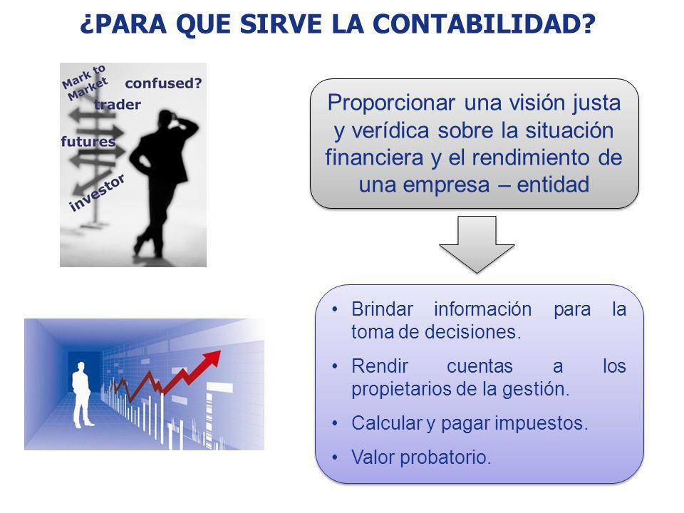 ¿PARA QUE SIRVE LA CONTABILIDAD? Proporcionar una visión justa y verídica sobre la situación financiera y el rendimiento de una empresa – entidad Brin