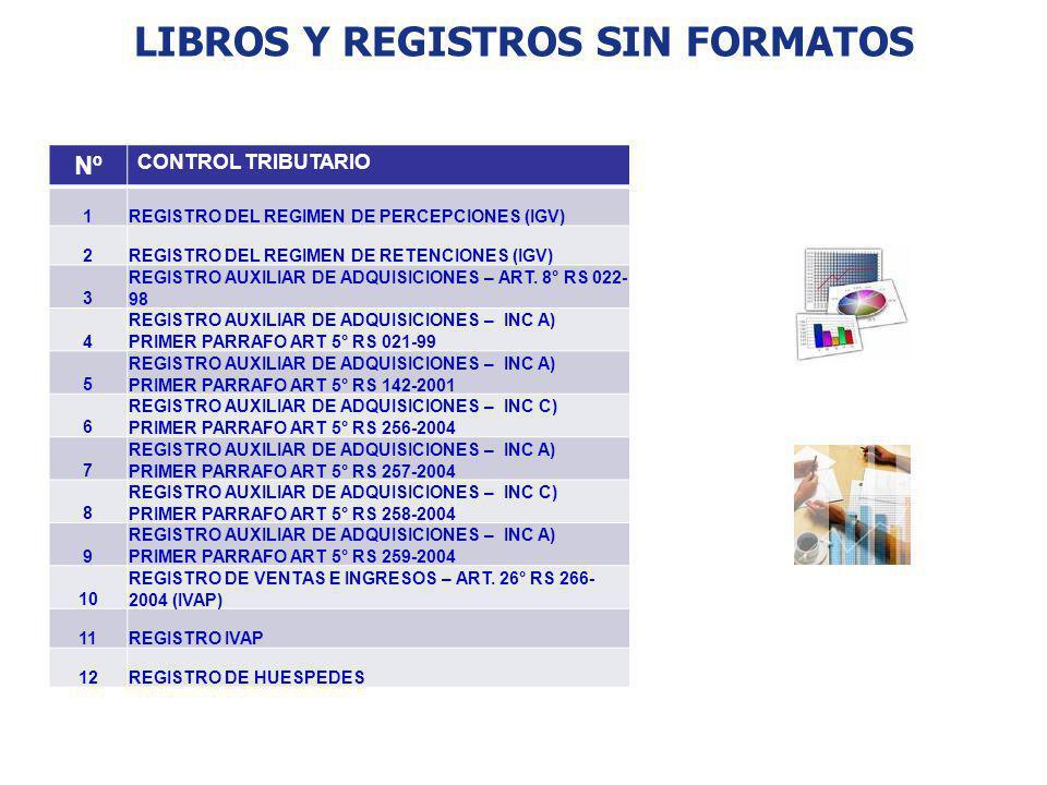 LIBROS Y REGISTROS SIN FORMATOS Nº CONTROL TRIBUTARIO 1REGISTRO DEL REGIMEN DE PERCEPCIONES (IGV) 2REGISTRO DEL REGIMEN DE RETENCIONES (IGV) 3 REGISTR