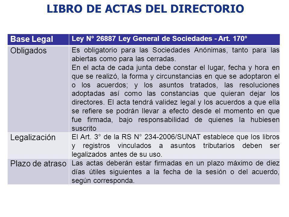 LIBRO DE ACTAS DEL DIRECTORIO Base Legal Ley N° 26887 Ley General de Sociedades - Art. 170° Obligados Es obligatorio para las Sociedades Anónimas, tan
