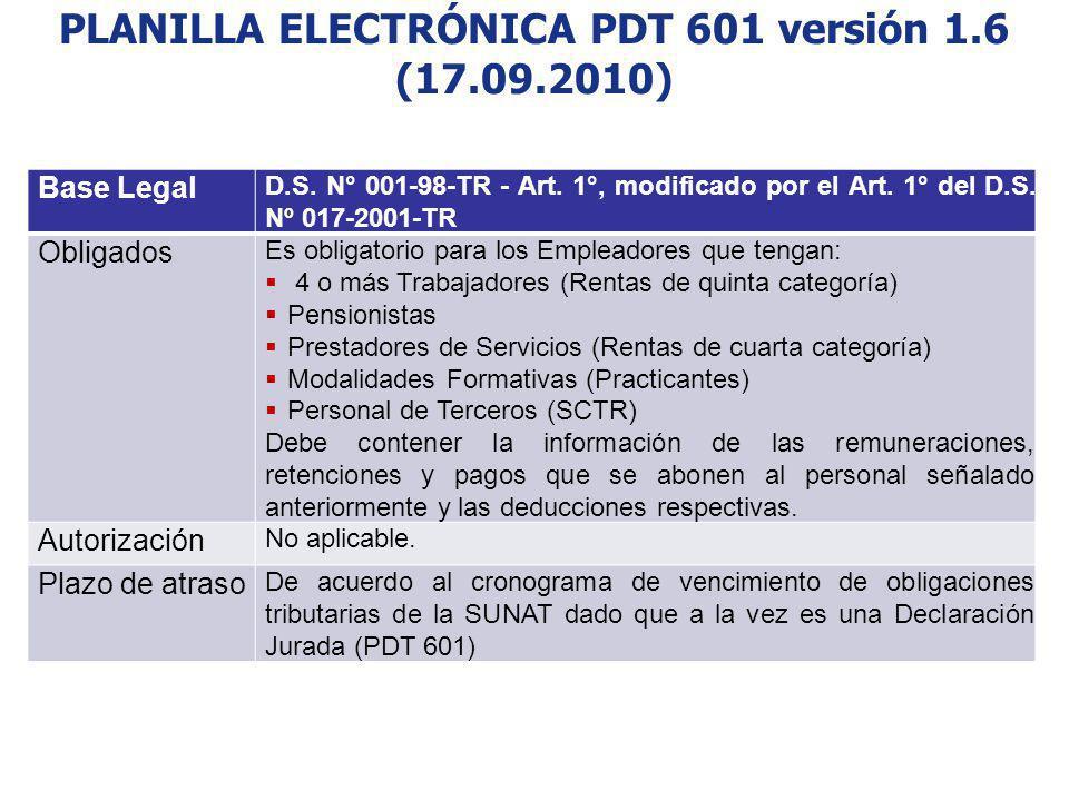PLANILLA ELECTRÓNICA PDT 601 versión 1.6 (17.09.2010) Base Legal D.S. N° 001-98-TR - Art. 1°, modificado por el Art. 1° del D.S. Nº 017-2001-TR Obliga