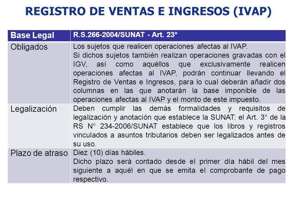 REGISTRO DE VENTAS E INGRESOS (IVAP) Base Legal R.S.266-2004/SUNAT - Art. 23° Obligados Los sujetos que realicen operaciones afectas al IVAP. Si dicho