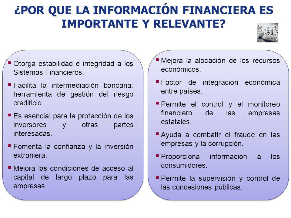 ¿POR QUE LA INFORMACIÓN FINANCIERA ES IMPORTANTE Y RELEVANTE? Otorga estabilidad e integridad a los Sistemas Financieros. Facilita la intermediación b