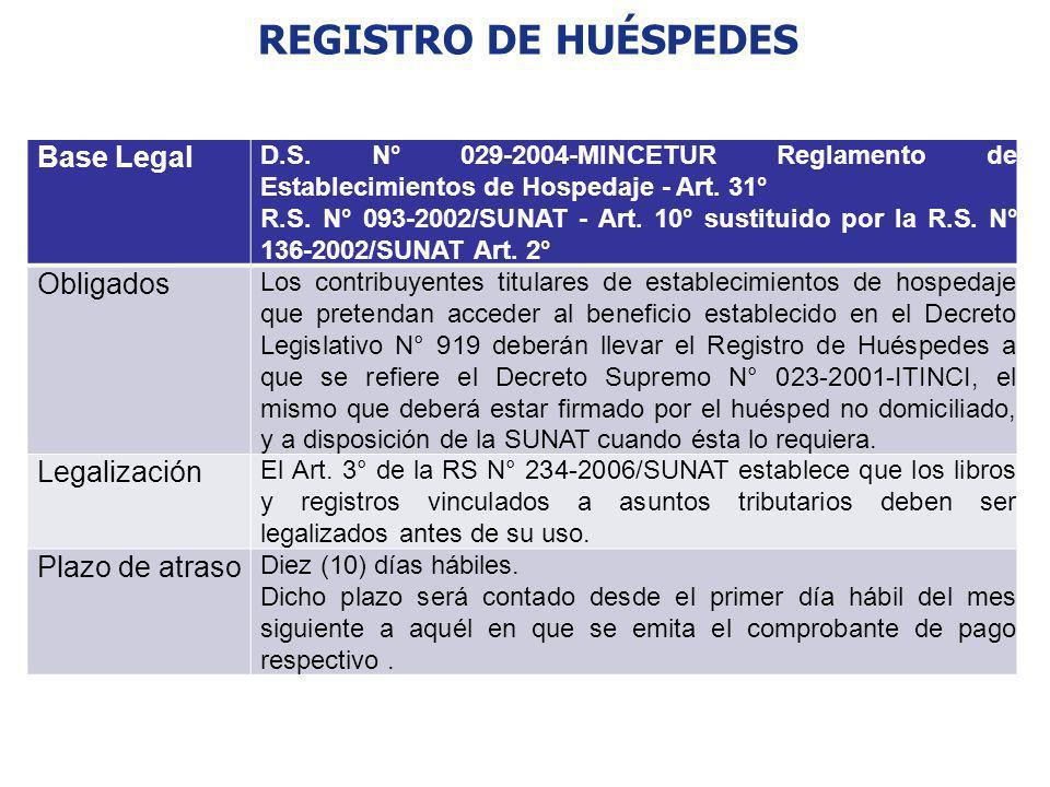 REGISTRO DE HUÉSPEDES Base Legal D.S. N° 029-2004-MINCETUR Reglamento de Establecimientos de Hospedaje - Art. 31° R.S. N° 093-2002/SUNAT - Art. 10° su