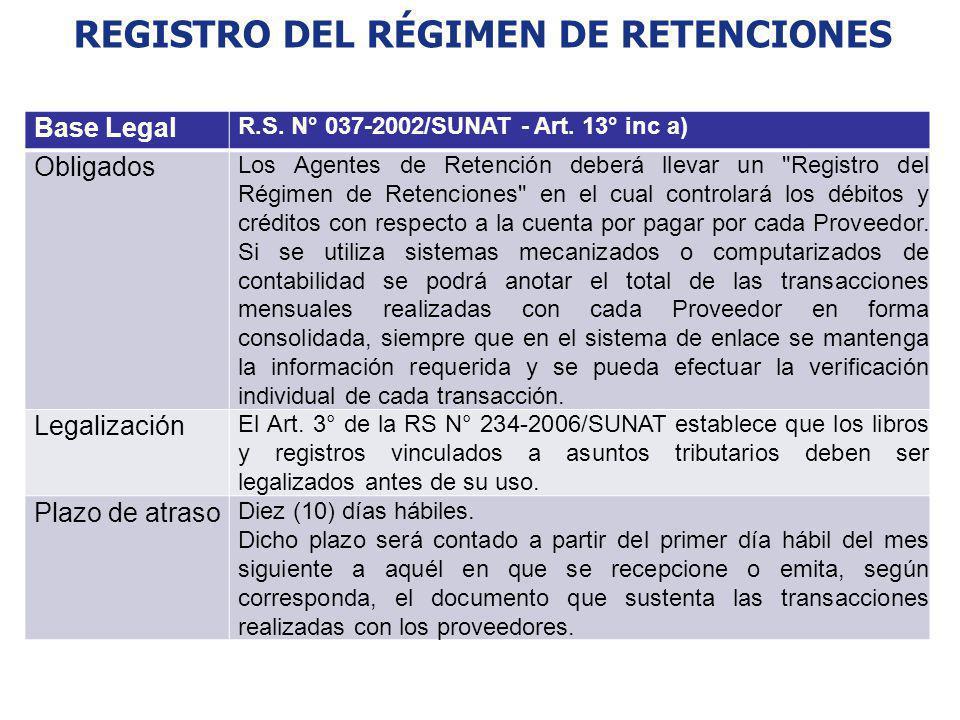 REGISTRO DEL RÉGIMEN DE RETENCIONES Base Legal R.S. N° 037-2002/SUNAT - Art. 13° inc a) Obligados Los Agentes de Retención deberá llevar un