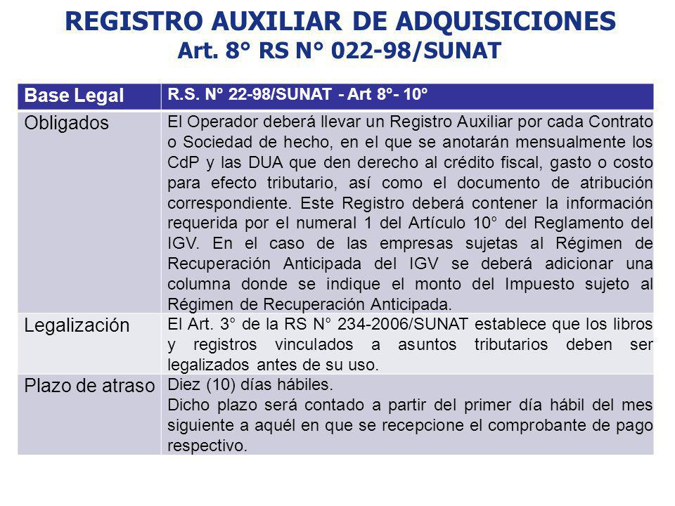 REGISTRO AUXILIAR DE ADQUISICIONES Art. 8° RS N° 022-98/SUNAT Base Legal R.S. N° 22-98/SUNAT - Art 8°- 10° Obligados El Operador deberá llevar un Regi
