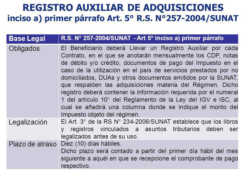 REGISTRO AUXILIAR DE ADQUISICIONES inciso a) primer párrafo Art. 5° R.S. N°257-2004/SUNAT Base Legal R.S. N° 257-2004/SUNAT - Art 5° inciso a) primer