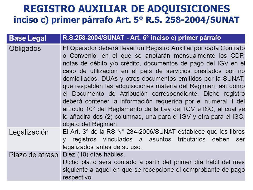 REGISTRO AUXILIAR DE ADQUISICIONES inciso c) primer párrafo Art. 5° R.S. 258-2004/SUNAT Base Legal R.S.258-2004/SUNAT - Art. 5° inciso c) primer párra
