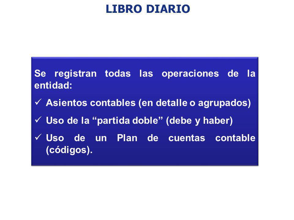 LIBRO DIARIO Se registran todas las operaciones de la entidad: Asientos contables (en detalle o agrupados) Uso de la partida doble (debe y haber) Uso