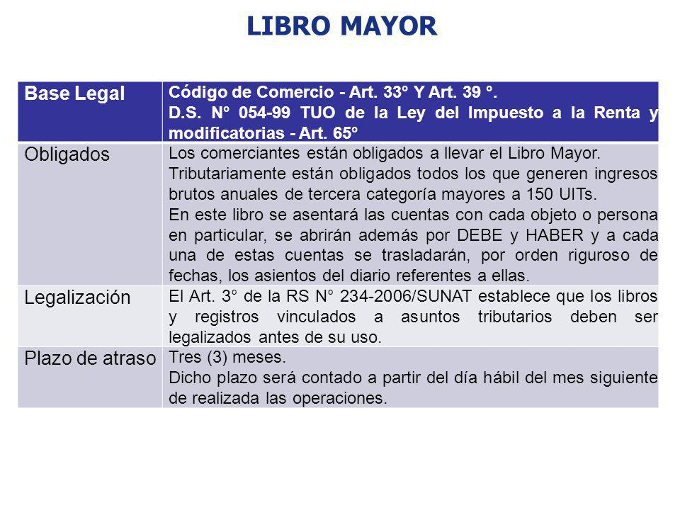 LIBRO MAYOR Base Legal Código de Comercio - Art. 33° Y Art. 39 °. D.S. N° 054-99 TUO de la Ley del Impuesto a la Renta y modificatorias - Art. 65° Obl