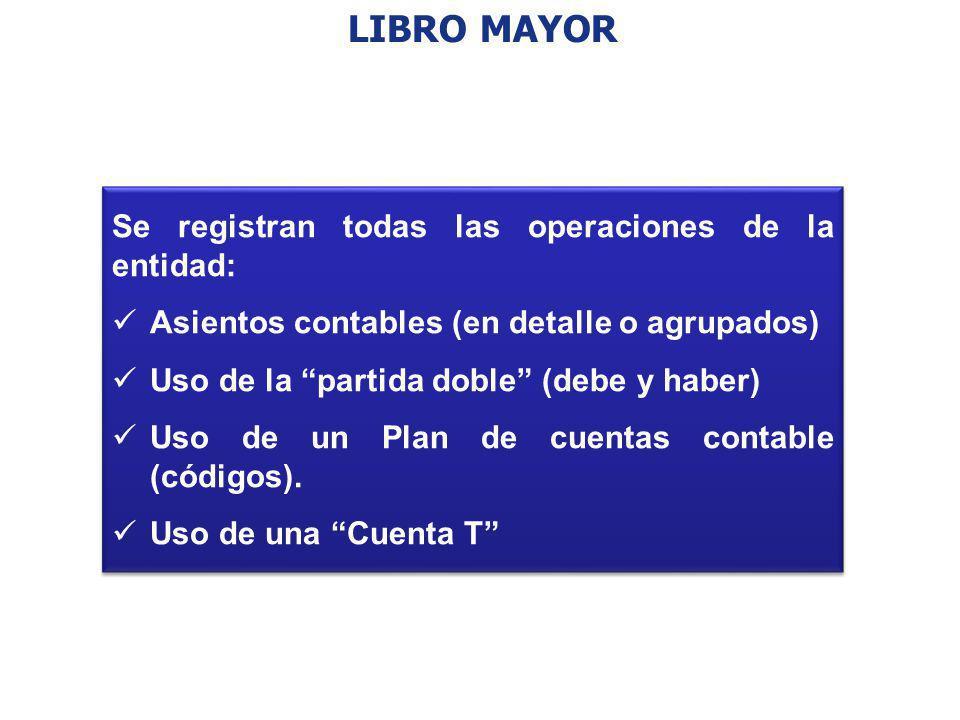 LIBRO MAYOR Se registran todas las operaciones de la entidad: Asientos contables (en detalle o agrupados) Uso de la partida doble (debe y haber) Uso d