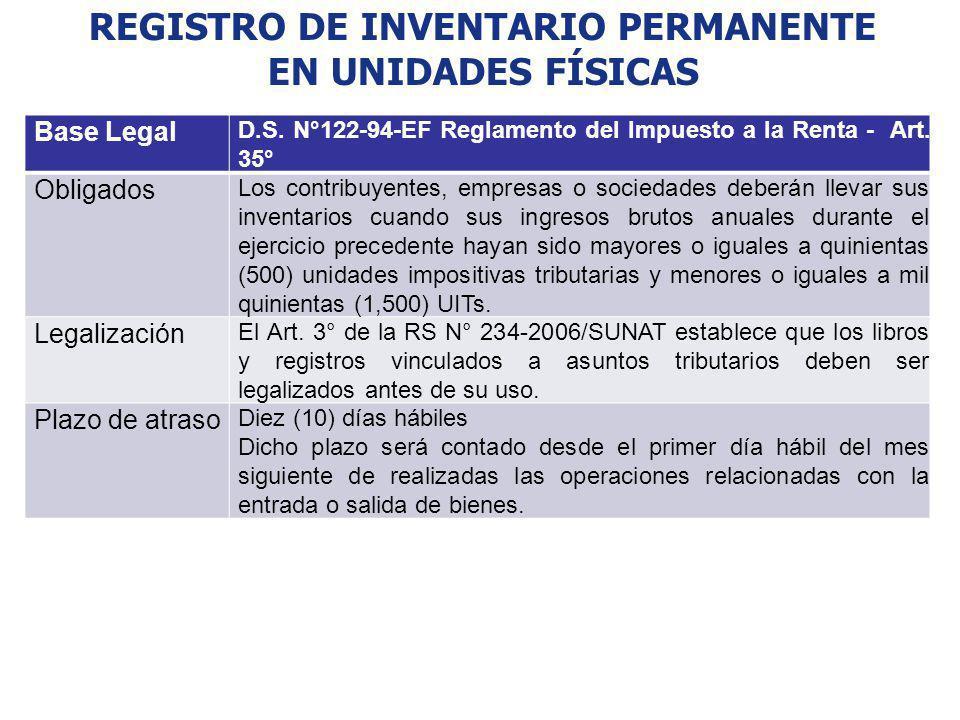 REGISTRO DE INVENTARIO PERMANENTE EN UNIDADES FÍSICAS Base Legal D.S. N°122-94-EF Reglamento del Impuesto a la Renta - Art. 35° Obligados Los contribu