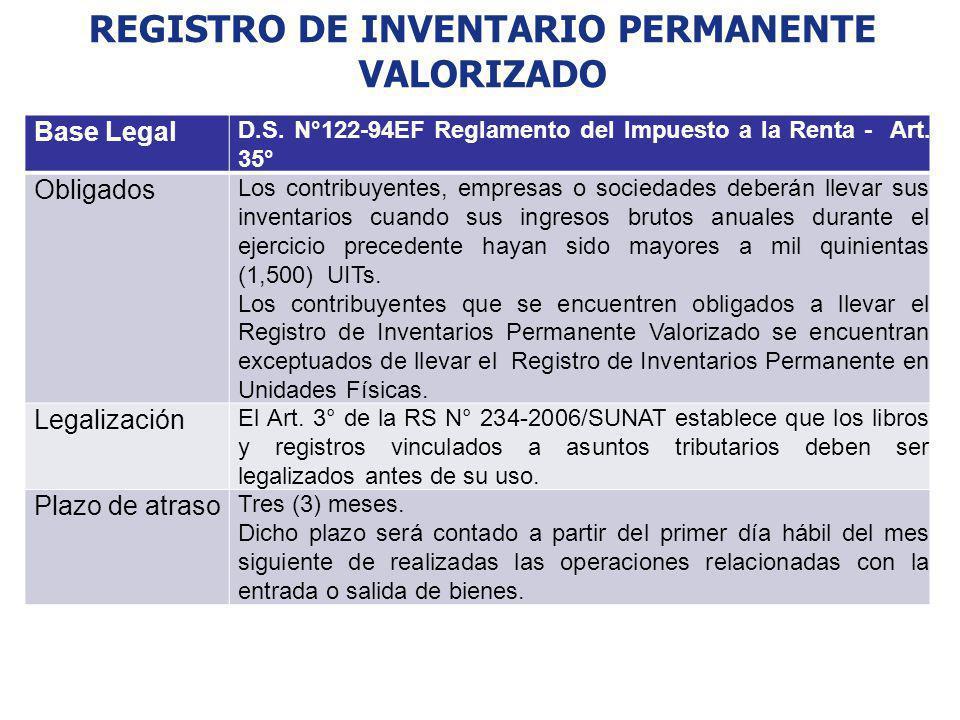 REGISTRO DE INVENTARIO PERMANENTE VALORIZADO Base Legal D.S. N°122-94EF Reglamento del Impuesto a la Renta - Art. 35° Obligados Los contribuyentes, em