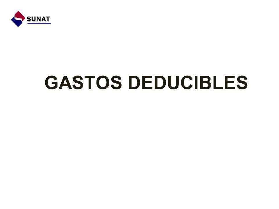 GASTOS DEDUCIBLES SUNAT