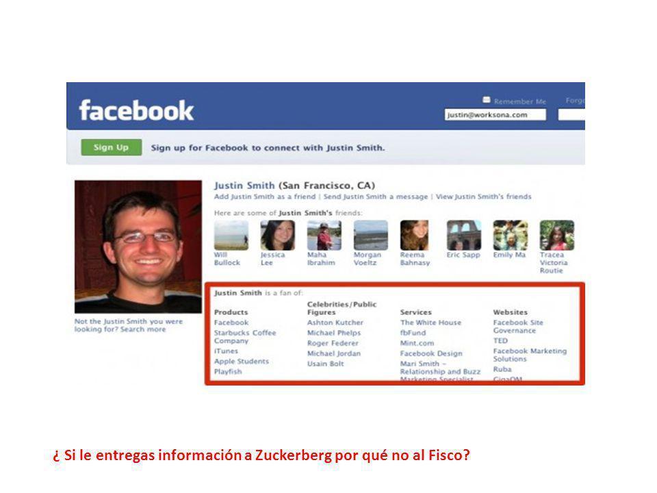 ¿ Si le entregas información a Zuckerberg por qué no al Fisco?