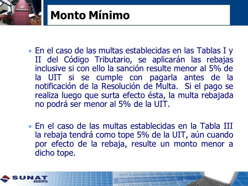 Monto Mínimo En el caso de las multas establecidas en las Tablas I y II del Código Tributario, se aplicarán las rebajas inclusive si con ello la sanción resulte menor al 5% de la UIT si se cumple con pagarla antes de la notificación de la Resolución de Multa.