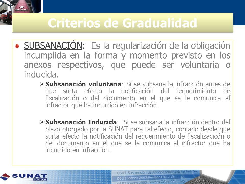 Criterios de Gradualidad SUBSANACIÓN: Es la regularización de la obligación incumplida en la forma y momento previsto en los anexos respectivos, que puede ser voluntaria o inducida.