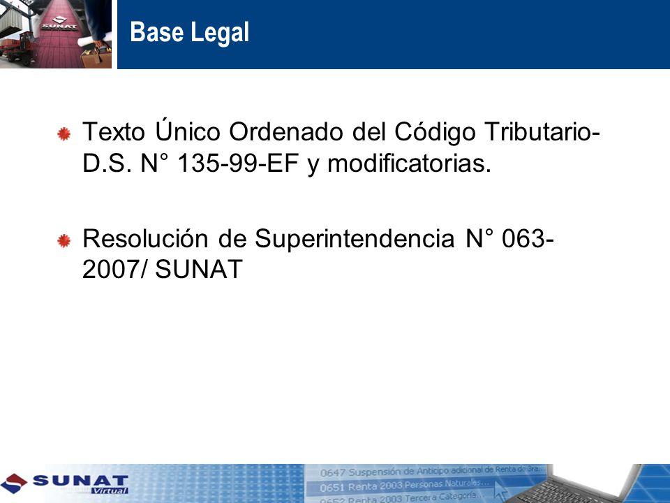 Base Legal Texto Único Ordenado del Código Tributario- D.S.