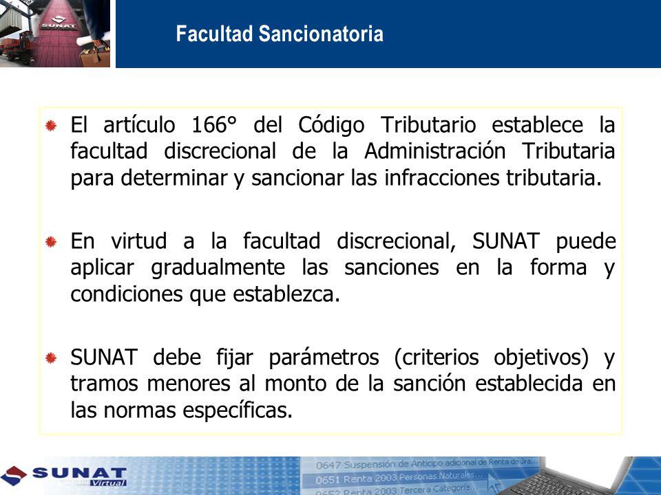 Facultad Sancionatoria El artículo 166° del Código Tributario establece la facultad discrecional de la Administración Tributaria para determinar y sancionar las infracciones tributaria.