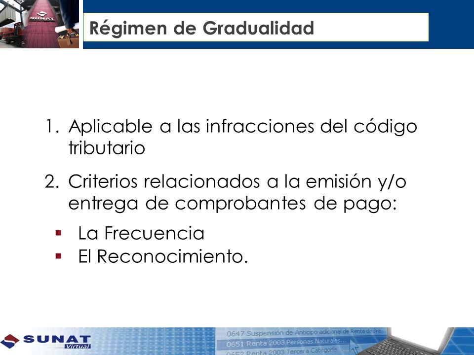 Régimen de Gradualidad 1.Aplicable a las infracciones del código tributario 2.Criterios relacionados a la emisión y/o entrega de comprobantes de pago: La Frecuencia El Reconocimiento.