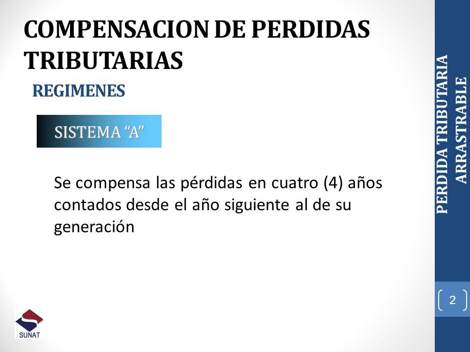 2 COMPENSACION DE PERDIDAS TRIBUTARIAS REGIMENES SISTEMA A Se compensa las pérdidas en cuatro (4) años contados desde el año siguiente al de su genera