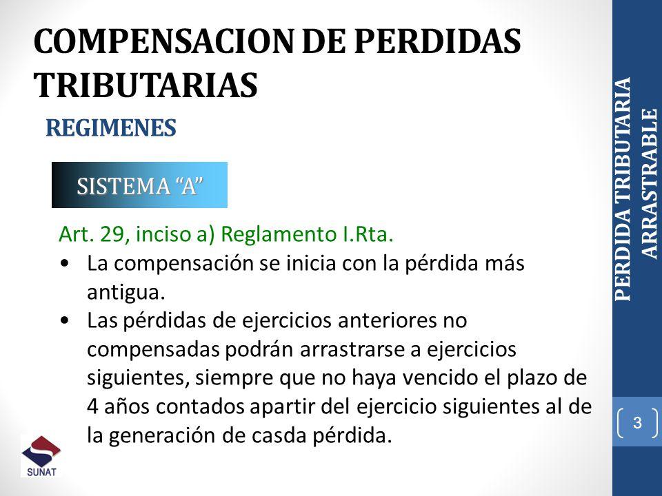 3 PERDIDA TRIBUTARIA ARRASTRABLE COMPENSACION DE PERDIDAS TRIBUTARIAS REGIMENES Art. 29, inciso a) Reglamento I.Rta. La compensación se inicia con la