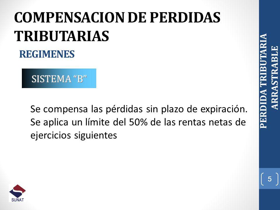 6 PERDIDA TRIBUTARIA ARRASTRABLE COMPENSACION DE PERDIDAS TRIBUTARIAS REGIMENES Art.