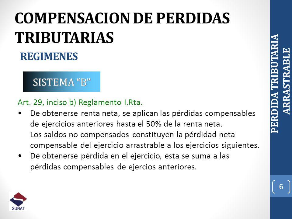 6 PERDIDA TRIBUTARIA ARRASTRABLE COMPENSACION DE PERDIDAS TRIBUTARIAS REGIMENES Art. 29, inciso b) Reglamento I.Rta. De obtenerse renta neta, se aplic