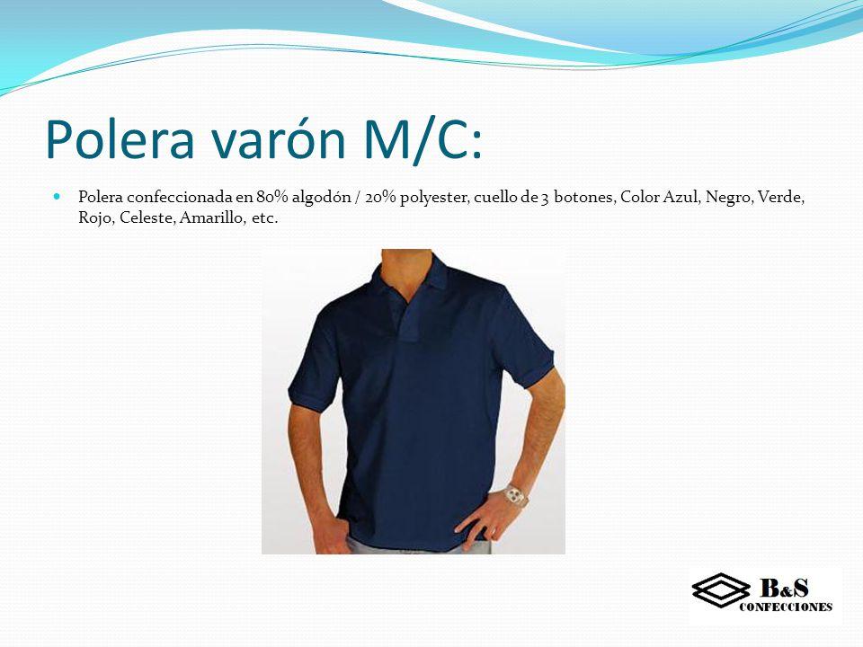 Polera dama: Polera confeccionada en 80% algodón / 20% polyester, cuello de 3 botones,Color Azul, Negro, Verde, Rojo, Celeste, Amarillo, etc.