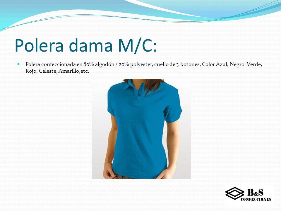 Polera varón M/C: Polera confeccionada en 80% algodón / 20% polyester, cuello de 3 botones, Color Azul, Negro, Verde, Rojo, Celeste, Amarillo, etc.