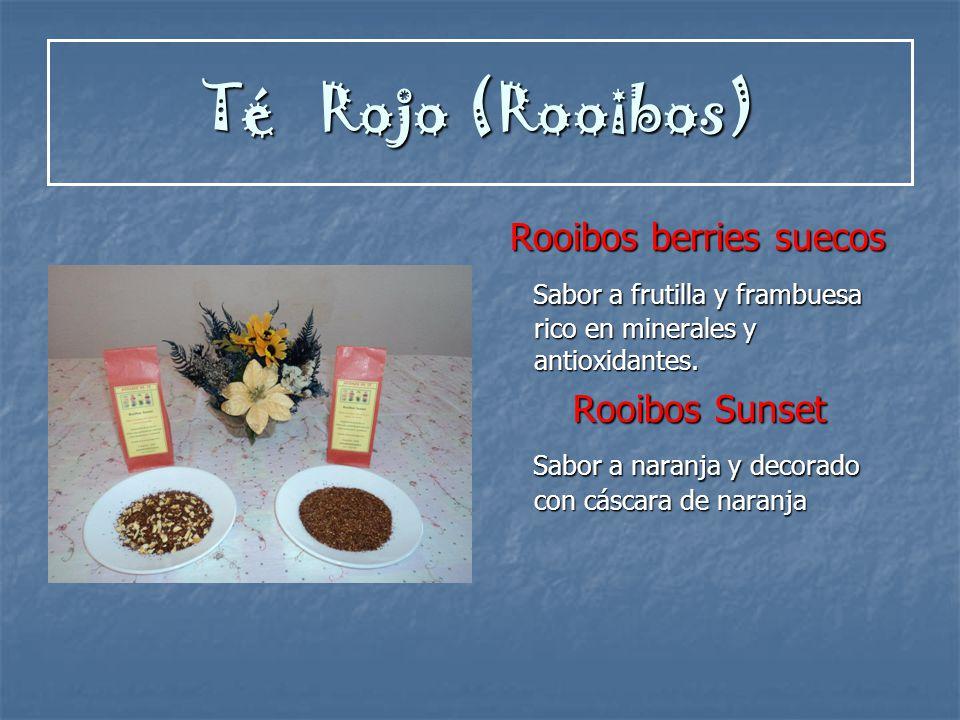 Té Rojo (Rooibos) Rooibos berries suecos Rooibos berries suecos Sabor a frutilla y frambuesa rico en minerales y antioxidantes. Sabor a frutilla y fra