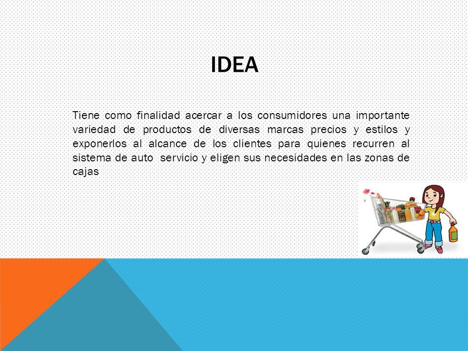 IDEA Tiene como finalidad acercar a los consumidores una importante variedad de productos de diversas marcas precios y estilos y exponerlos al alcance