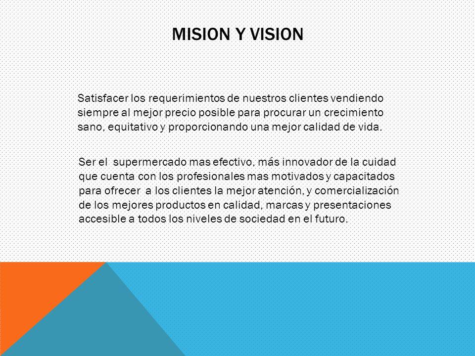 MISION Y VISION Satisfacer los requerimientos de nuestros clientes vendiendo siempre al mejor precio posible para procurar un crecimiento sano, equita