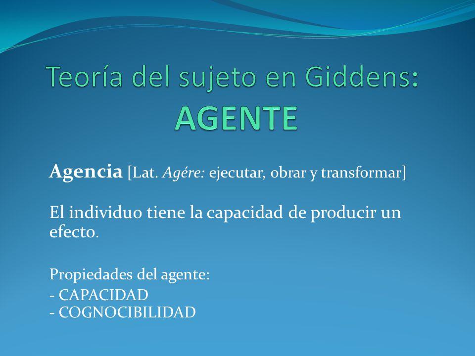 Agencia [Lat. Agére: ejecutar, obrar y transformar] El individuo tiene la capacidad de producir un efecto. Propiedades del agente: - CAPACIDAD - COGNO