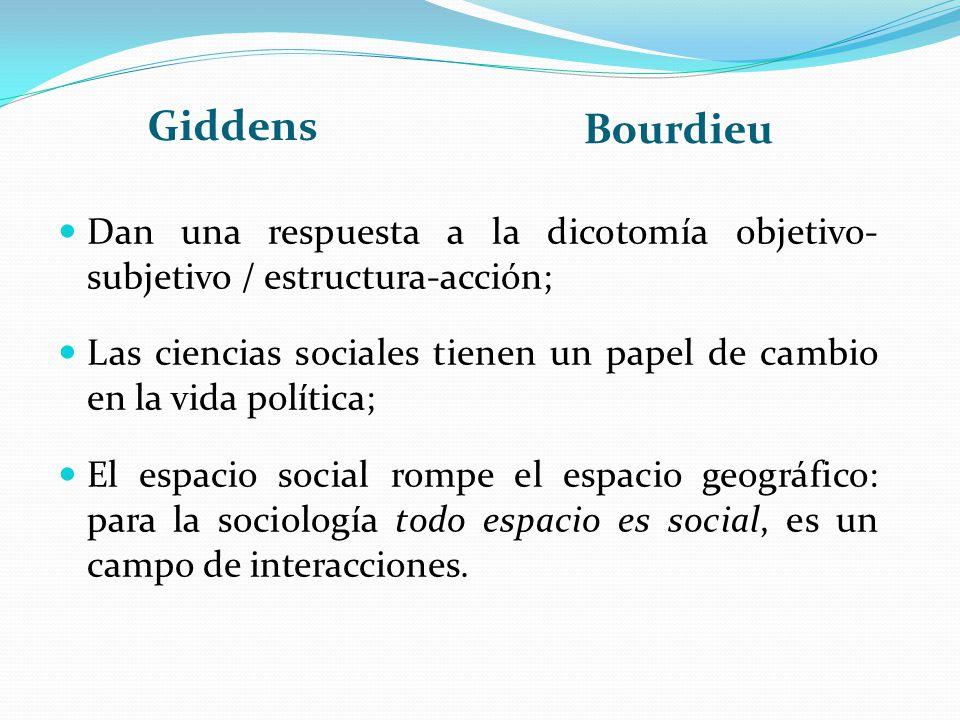 Giddens Bourdieu Dan una respuesta a la dicotomía objetivo- subjetivo / estructura-acción; Las ciencias sociales tienen un papel de cambio en la vida
