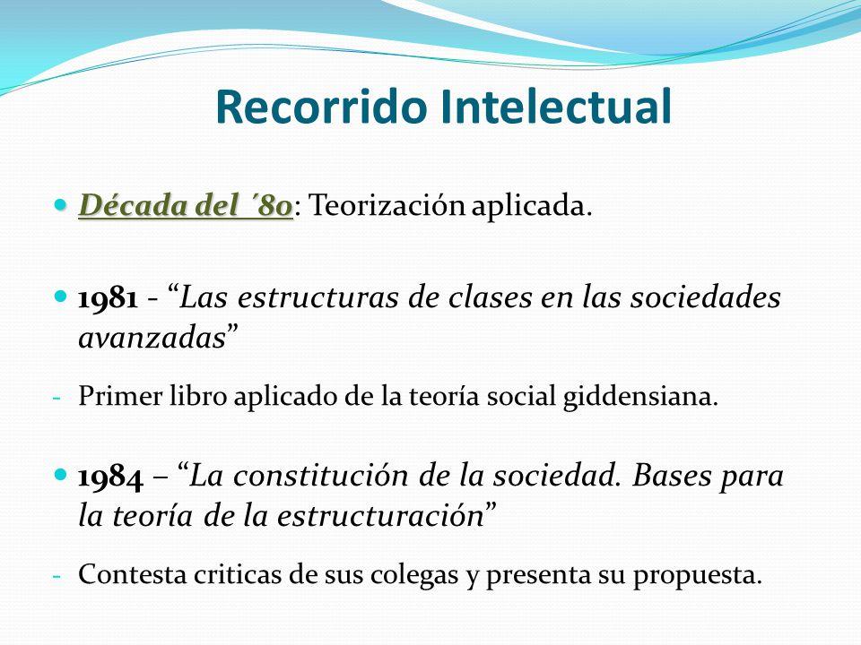 Recorrido Intelectual Década del ´80 Década del ´80: Teorización aplicada. 1981 - Las estructuras de clases en las sociedades avanzadas - Primer libro