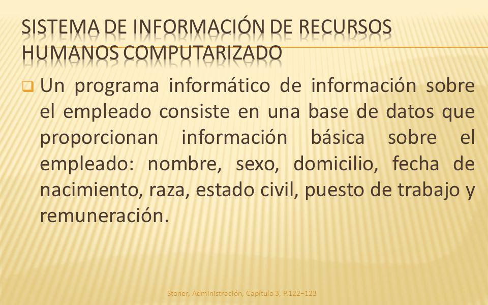 Un programa informático de información sobre el empleado consiste en una base de datos que proporcionan información básica sobre el empleado: nombre,