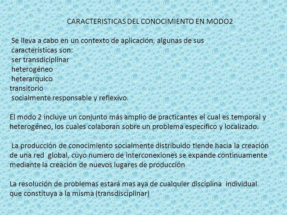 CARACTERISTICAS DEL CONOCIMIENTO EN MODO2 Se lleva a cabo en un contexto de aplicación, algunas de sus características son: ser transdiciplinar hetero