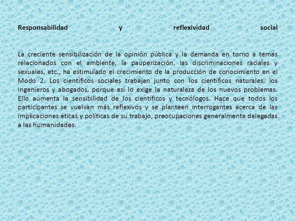 Responsabilidad y reflexividad social La creciente sensibilización de la opinión pública y la demanda en torno a temas relacionados con el ambiente, l