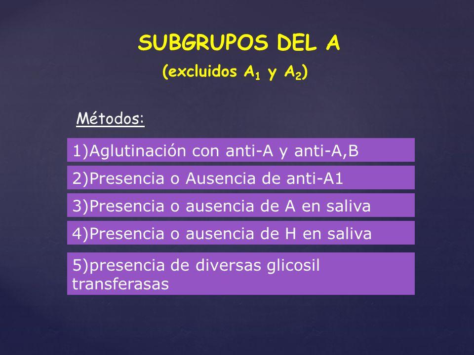 SUBGRUPOS DEL A (excluidos A 1 y A 2 ) Métodos: 1)Aglutinación con anti-A y anti-A,B 2)Presencia o Ausencia de anti-A1 3)Presencia o ausencia de A en