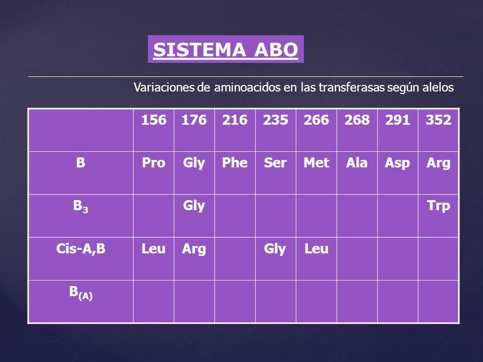 SISTEMA ABO Variaciones de aminoacidos en las transferasas según alelos 156176216235266268291352 BProGlyPheSerMetAlaAspArg B3B3 GlyTrp Cis-A,BLeuArgGl
