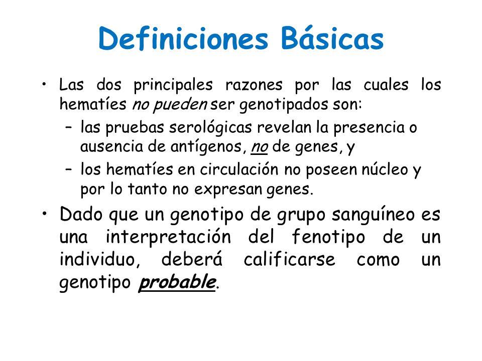 Definiciones Básicas Las dos principales razones por las cuales los hematíes no pueden ser genotipados son:Las dos principales razones por las cuales
