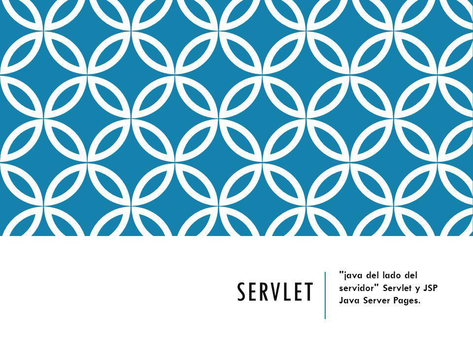 SERVLET java del lado del servidor Servlet y JSP Java Server Pages.