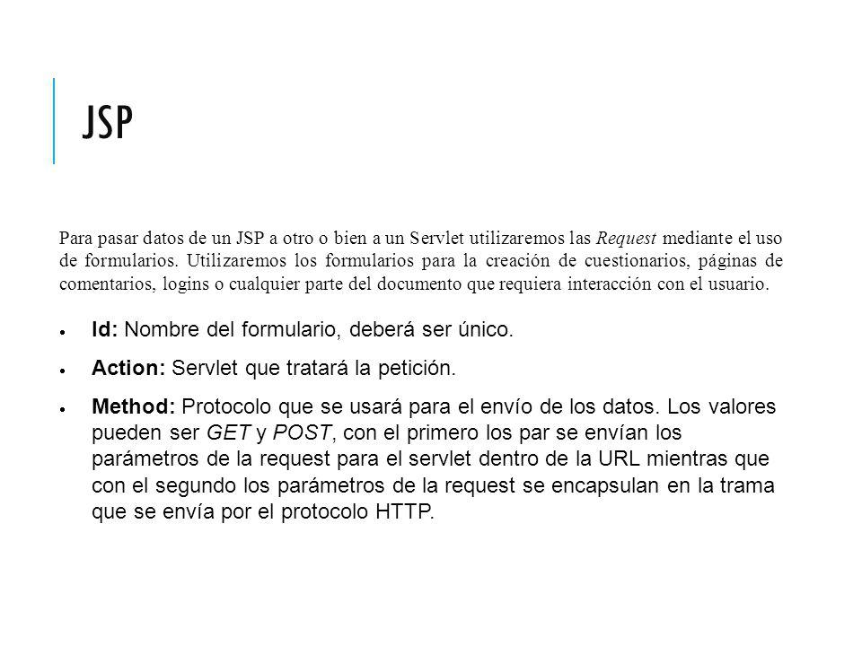 JSP Para pasar datos de un JSP a otro o bien a un Servlet utilizaremos las Request mediante el uso de formularios.