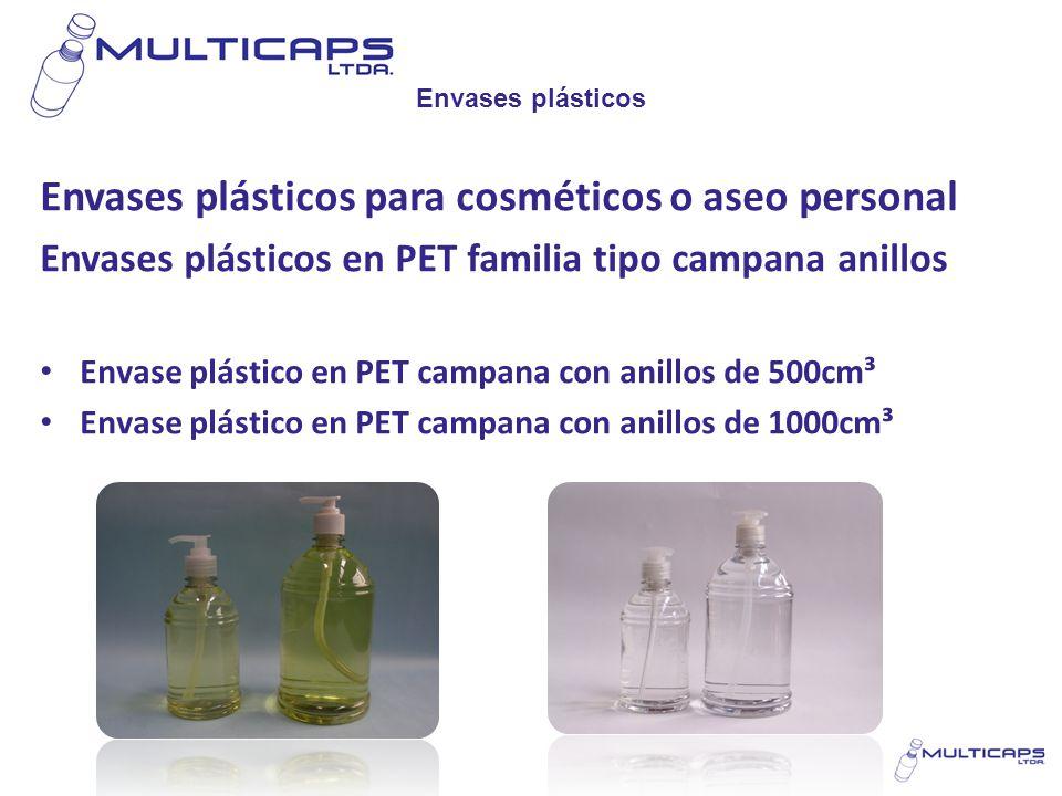 Envases plásticos Envases plásticos para cosméticos o aseo personal Envases plásticos en PET familia tipo campana anillos Envase plástico en PET campa